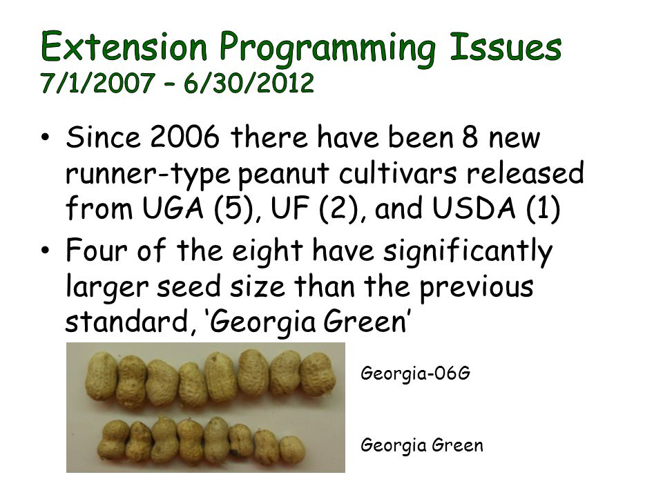 Since 2006 there have been 8 new runner-type peanut cultivars released from UGA (5), UF (2), and USDA (1) Four of the eight have significantly larger seed size than the previous standard, 'Georgia Green' Georgia Green Georgia-06G