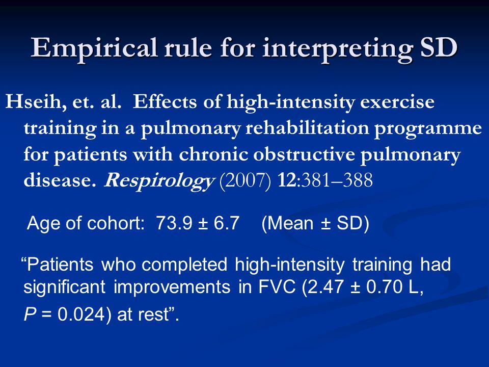 Empirical rule for interpreting SD Hseih, et. al.