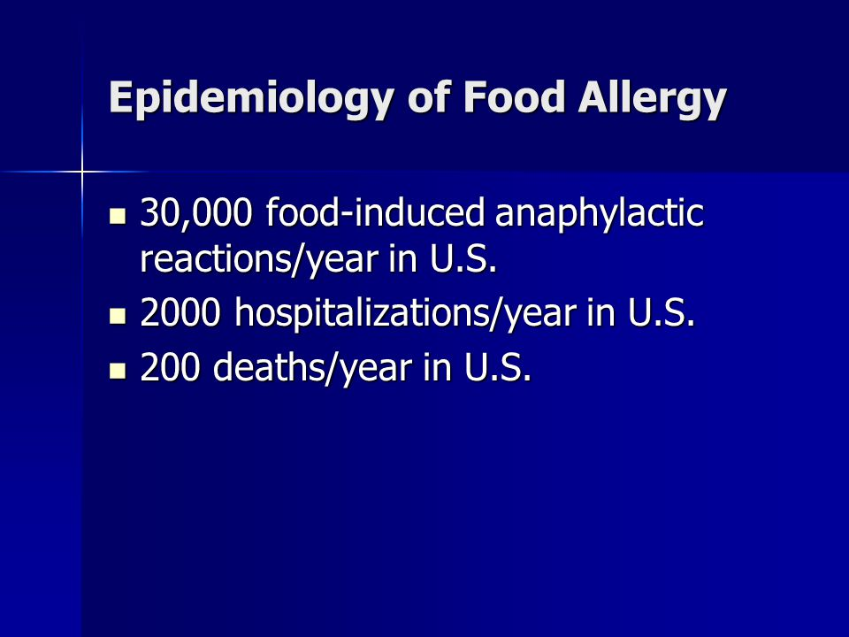 Epidemiology of Food Allergy 30,000 food-induced anaphylactic reactions/year in U.S. 30,000 food-induced anaphylactic reactions/year in U.S. 2000 hosp
