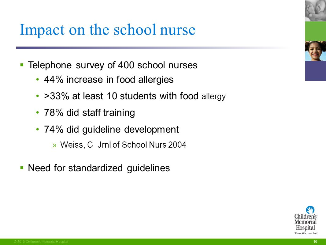10 © 2010 Children's Memorial Hospital Impact on the school nurse  Telephone survey of 400 school nurses 44% increase in food allergies >33% at least 10 students with food allergy 78% did staff training 74% did guideline development »Weiss, C Jrnl of School Nurs 2004  Need for standardized guidelines