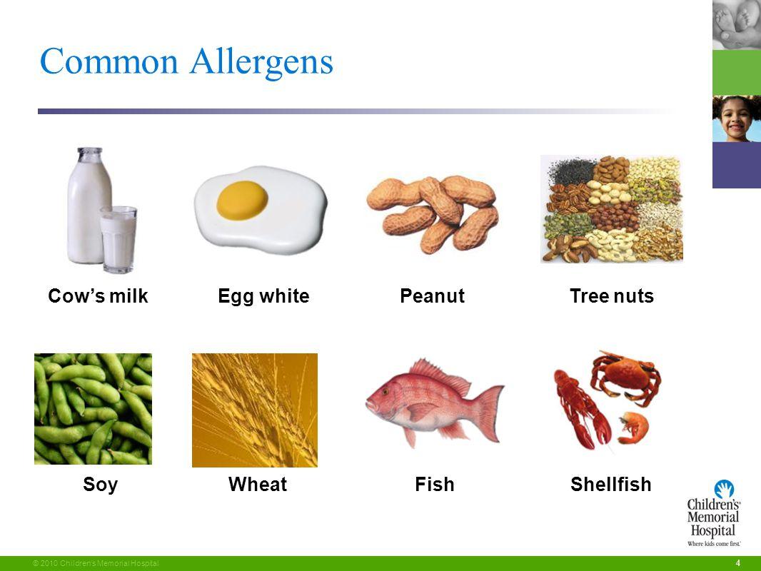 4 © 2010 Children's Memorial Hospital Soy Cow's milkPeanutTree nuts FishShellfish Egg white Wheat Common Allergens
