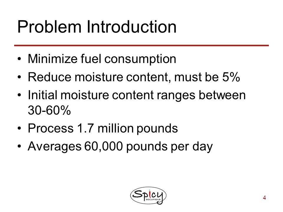 4 Problem Introduction Minimize fuel consumption Reduce moisture content, must be 5% Initial moisture content ranges between 30-60% Process 1.7 millio