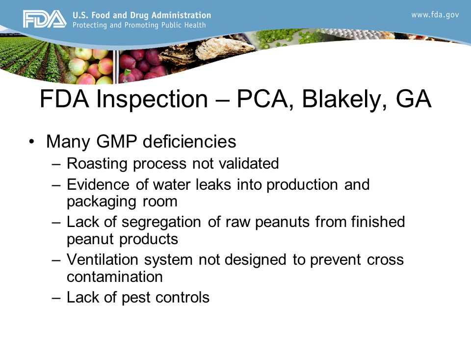 FDA Inspection – PCA, Blakely, GA Many GMP deficiencies –Roasting process not validated –Evidence of water leaks into production and packaging room –Lack of segregation of raw peanuts from finished peanut products –Ventilation system not designed to prevent cross contamination –Lack of pest controls