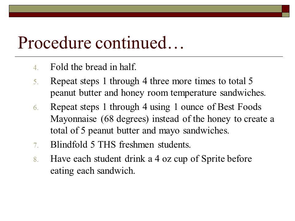 Procedure continued… 4. Fold the bread in half. 5.