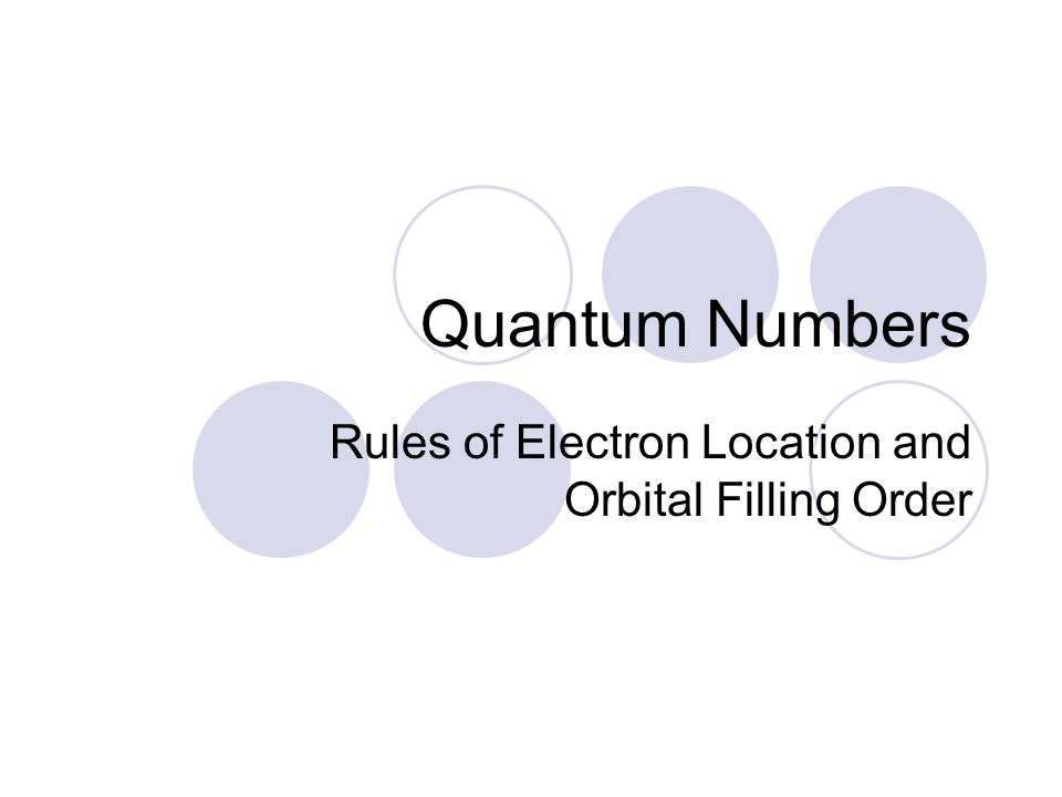 Quantum Numbers Rules of Electron Location and Orbital Filling Order