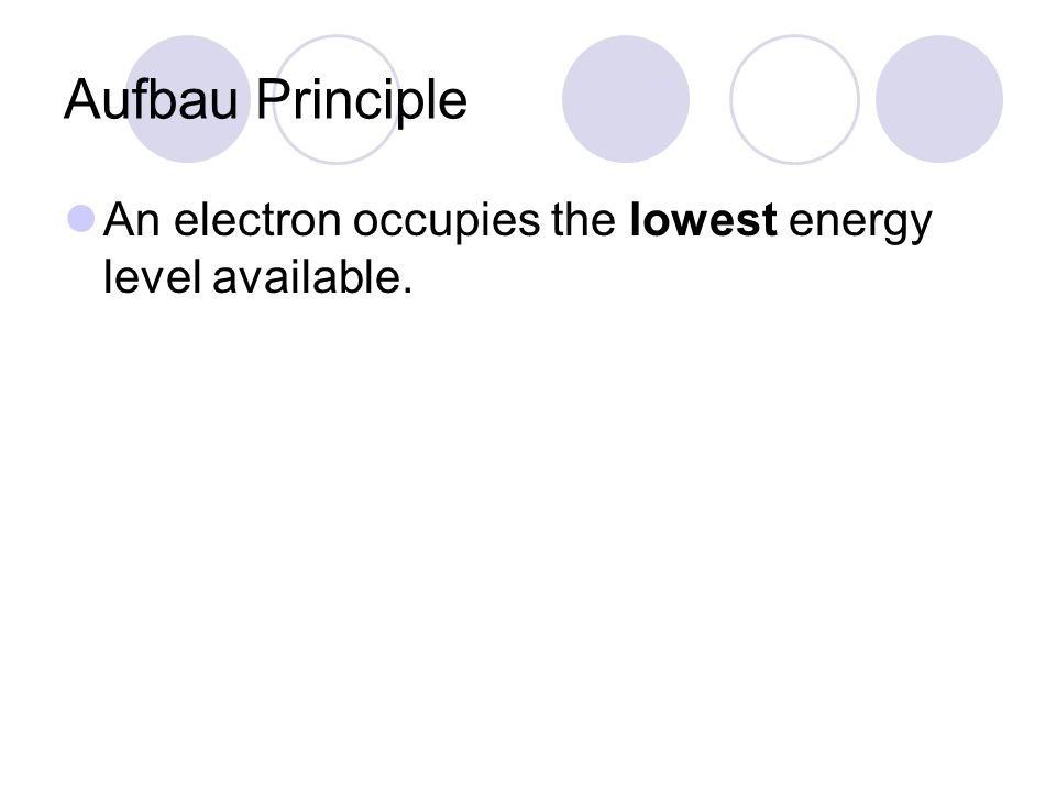 Aufbau Principle An electron occupies the lowest energy level available.
