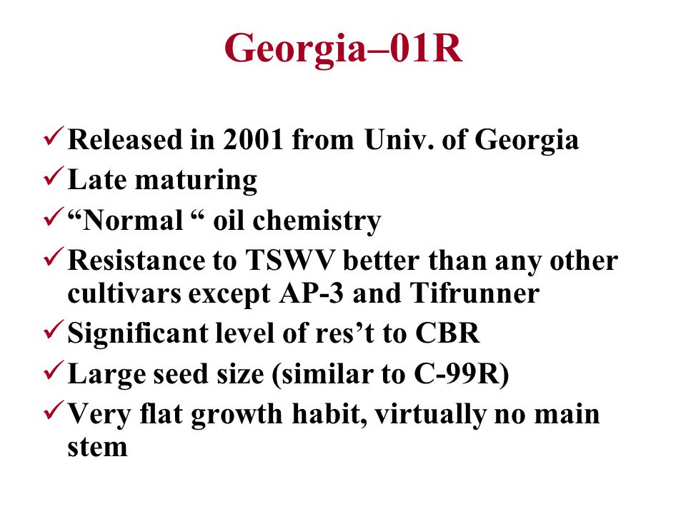 Georgia–01R Released in 2001 from Univ.