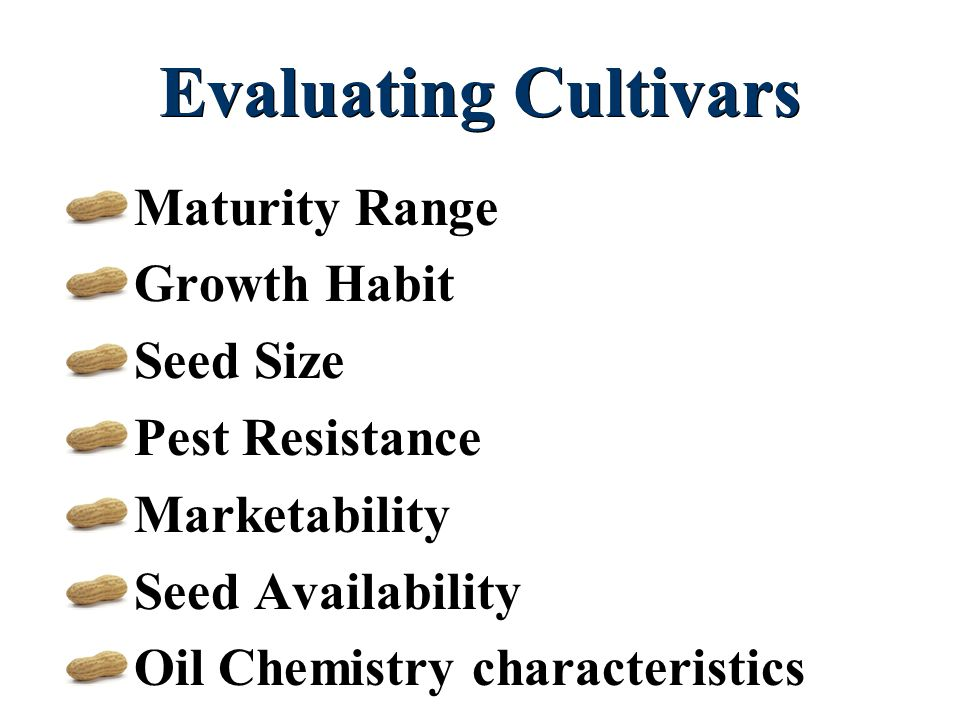 Evaluating Cultivars Maturity Range Growth Habit Seed Size Pest Resistance Marketability Seed Availability Oil Chemistry characteristics