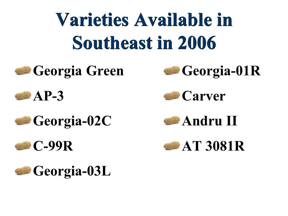 Varieties Available in Southeast in 2006 Georgia Green AP-3 Georgia-02C C-99R Georgia-03L Georgia-01R Carver Andru II AT 3081R