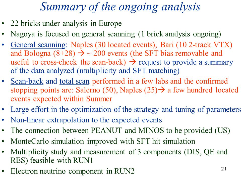 21 Summary of the ongoing analysis 22 bricks under analysis in Europe Nagoya is focused on general scanning (1 brick analysis ongoing) General scanning: Naples (30 located events), Bari (10 2-track VTX) and Bologna (8+28)  ~ 200 events (the SFT bias removable and useful to cross-check the scan-back)  request to provide a summary of the data analyzed (multiplicity and SFT matching) Scan-back and total scan performed in a few labs and the confirmed stopping points are: Salerno (50), Naples (25)  a few hundred located events expected within Summer Large effort in the optimization of the strategy and tuning of parameters Non-linear extrapolation to the expected events The connection between PEANUT and MINOS to be provided (US) MonteCarlo simulation improved with SFT hit simulation Multiplicity study and measurement of 3 components (DIS, QE and RES) feasible with RUN1 Electron neutrino component in RUN2