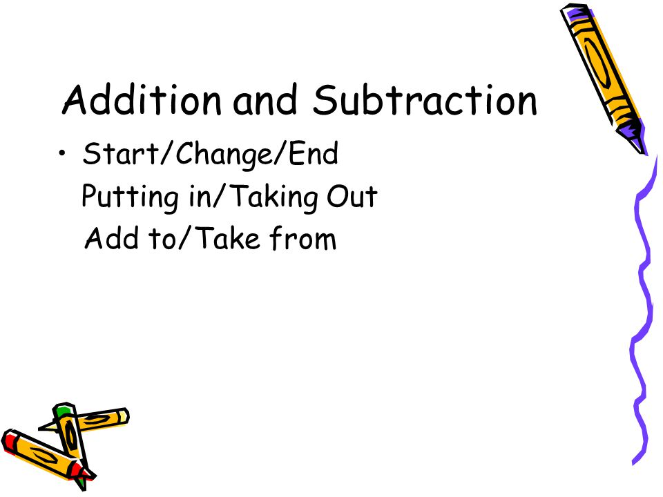 Addition and Subtraction Part/Part/Whole Joining/Separating Put together/Take Apart