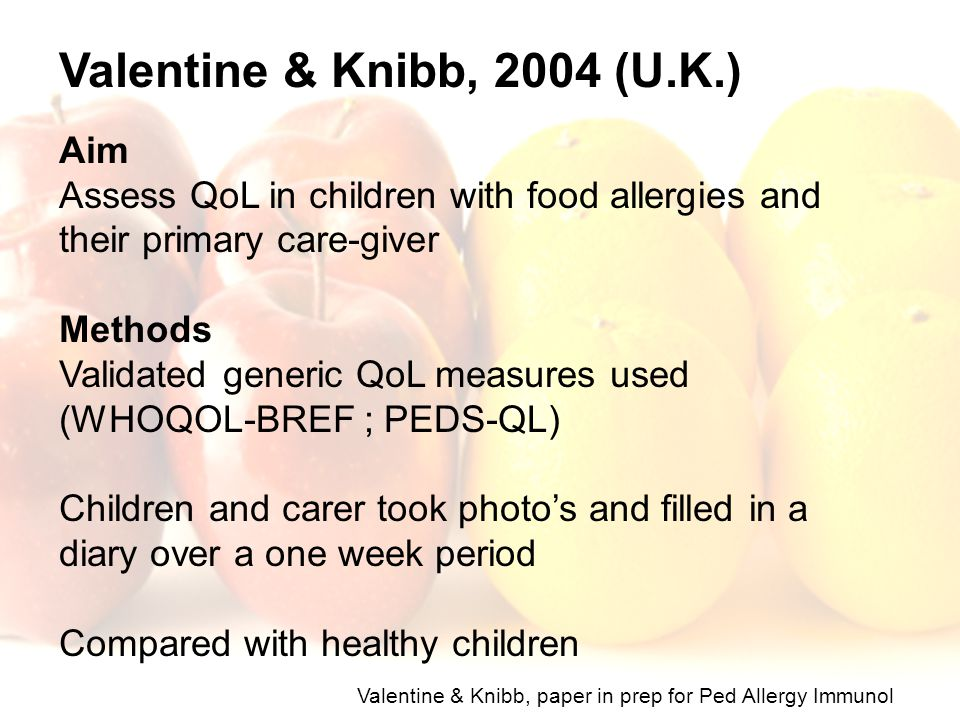 Valentine & Knibb, 2004 (U.K.) Aim Assess QoL in children with food allergies and their primary care-giver Methods Validated generic QoL measures used
