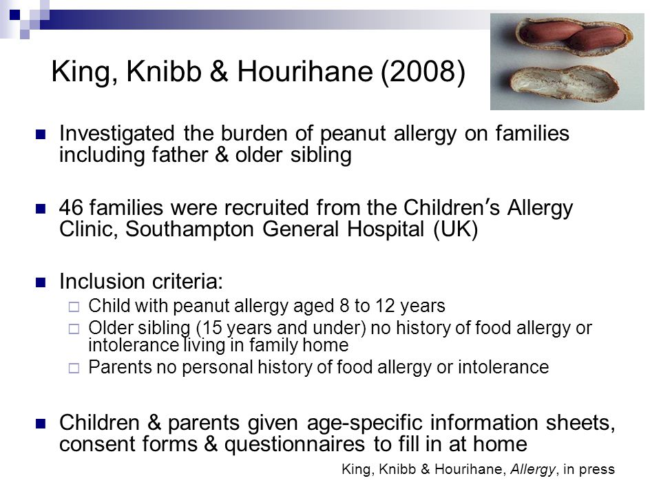 King, Knibb & Hourihane (2008) Investigated the burden of peanut allergy on families including father & older sibling 46 families were recruited from