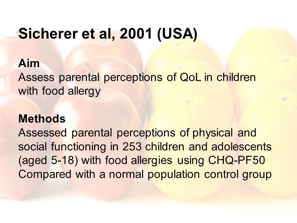Sicherer et al, 2001 (USA) Aim Assess parental perceptions of QoL in children with food allergy Methods Assessed parental perceptions of physical and