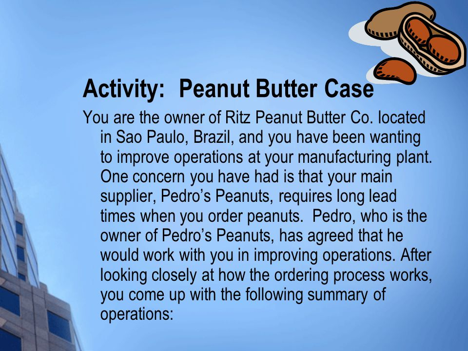 Activity: Peanut Butter Case You are the owner of Ritz Peanut Butter Co.