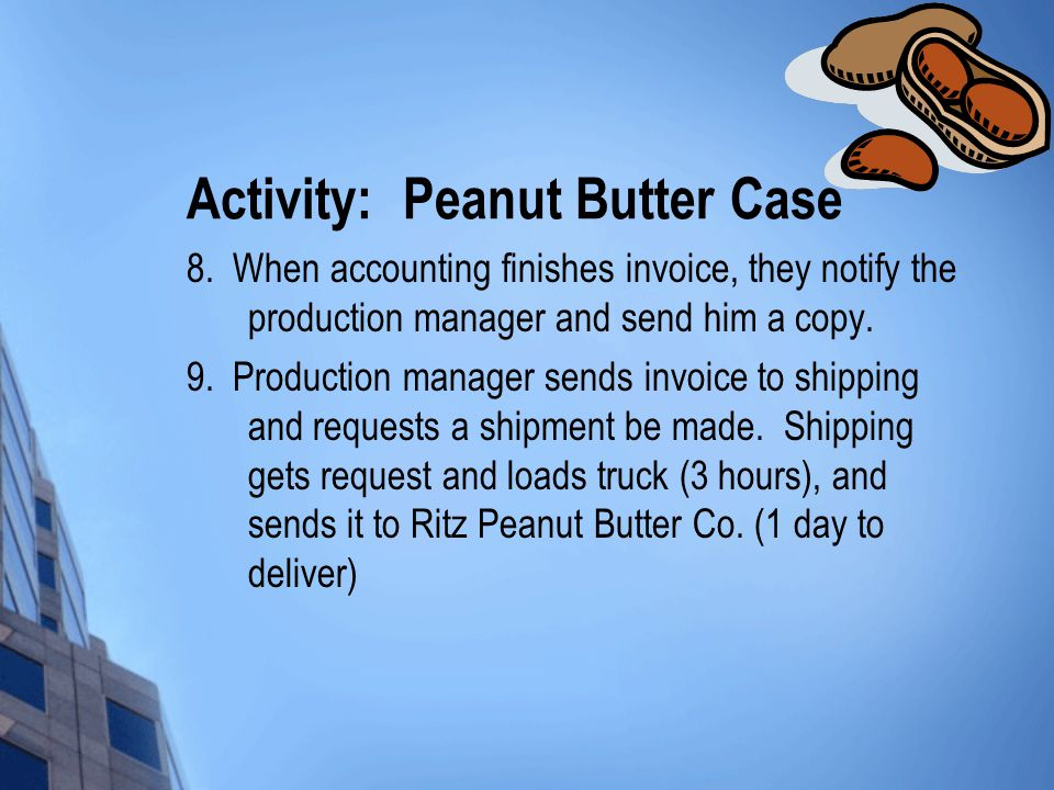 Activity: Peanut Butter Case 8. When accounting finishes invoice, they notify the production manager and send him a copy. 9. Production manager sends