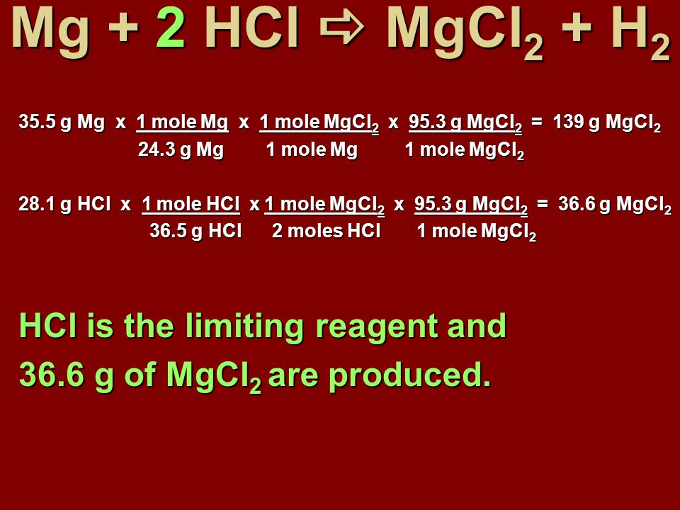 Mg + 2 HCl  MgCl 2 + H 2 35.5 g Mg x 1 mole Mg x 1 mole MgCl 2 x 95.3 g MgCl 2 = 139 g MgCl 2 24.3 g Mg 1 mole Mg 1 mole MgCl 2 24.3 g Mg 1 mole Mg 1 mole MgCl 2 28.1 g HCl x 1 mole HCl x 1 mole MgCl 2 x 95.3 g MgCl 2 = 36.6 g MgCl 2 36.5 g HCl 2 moles HCl 1 mole MgCl 2 36.5 g HCl 2 moles HCl 1 mole MgCl 2 HCl is the limiting reagent and 36.6 g of MgCl 2 are produced.