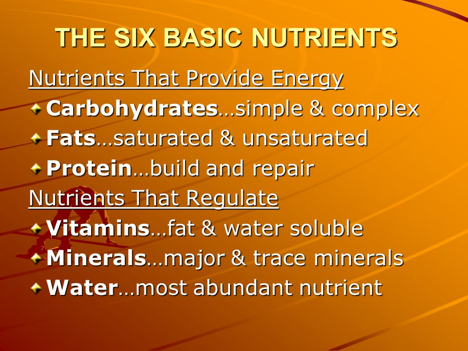 THE SIX BASIC NUTRIENTS Nutrients That Provide Energy Carbohydrates…simple & complex Fats…saturated & unsaturated Protein…build and repair Nutrients That Regulate Vitamins…fat & water soluble Minerals…major & trace minerals Water…most abundant nutrient