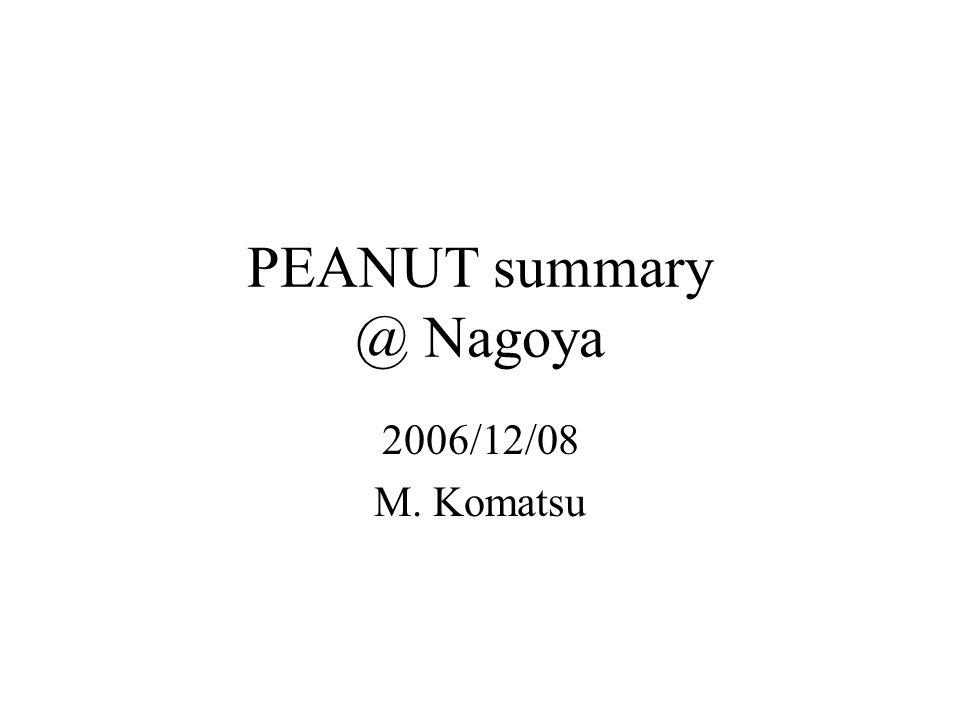 PEANUT summary @ Nagoya 2006/12/08 M. Komatsu