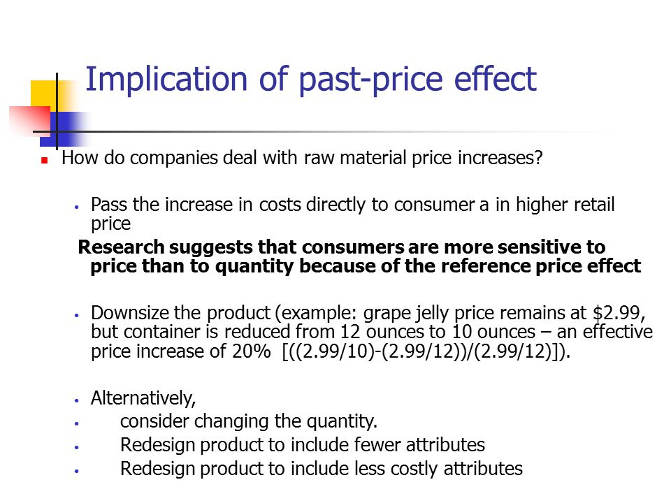Implication of past-price effect How do companies deal with raw material price increases? Pass the increase in costs directly to consumer a in higher