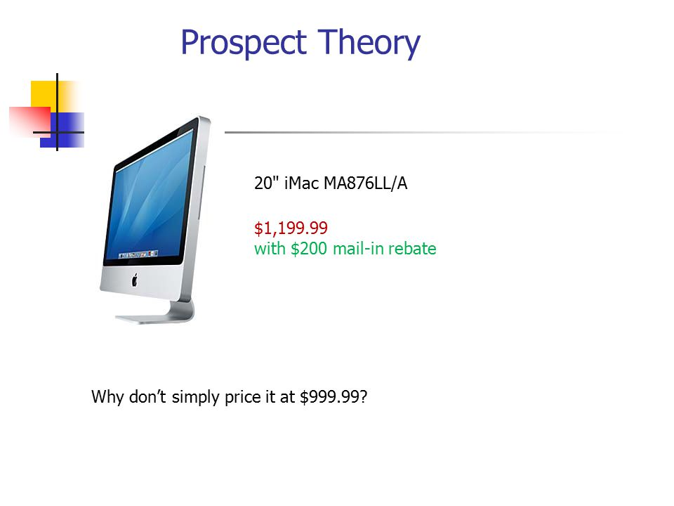 20 iMac MA876LL/A $1,199.99 with $200 mail-in rebate Why don't simply price it at $999.99