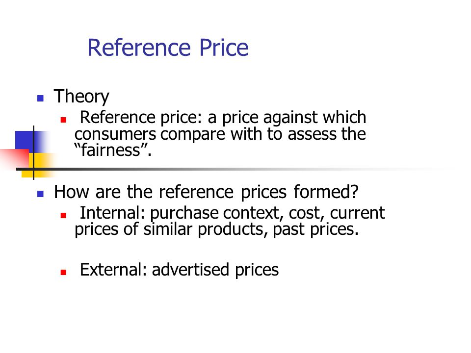 Formation of Reference Price Reference Price Purchase contextCostCurrent pricePast price Advertised price