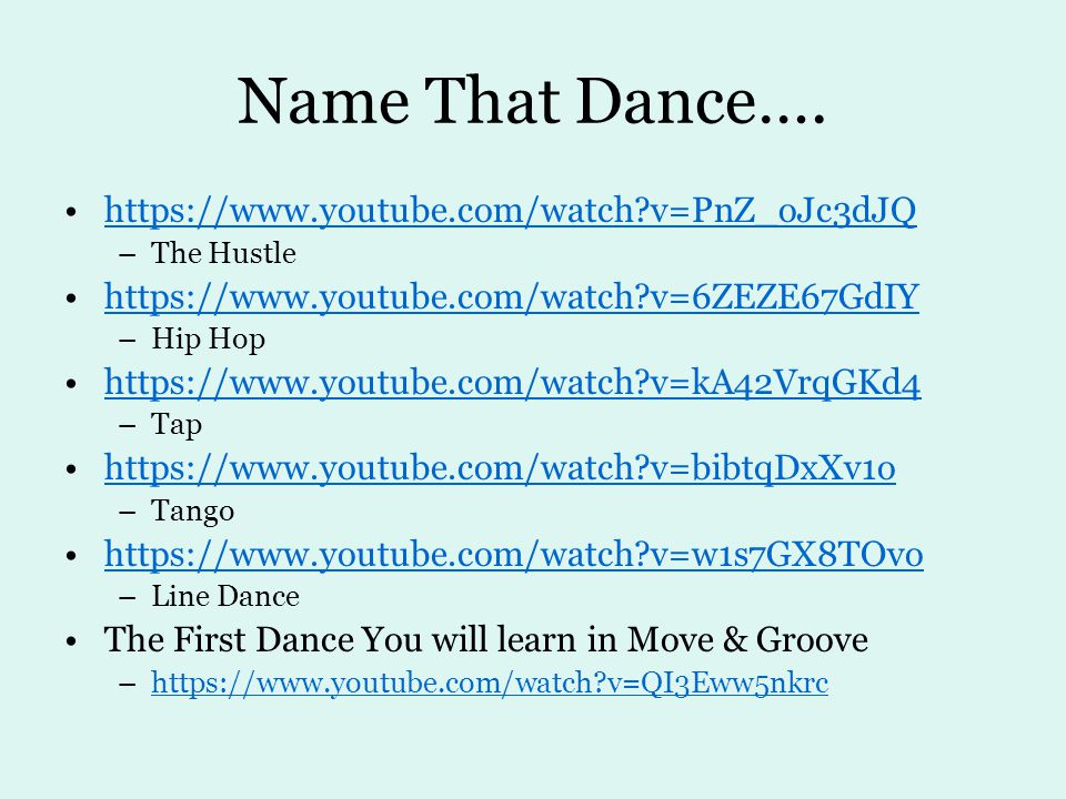 Name That Dance….