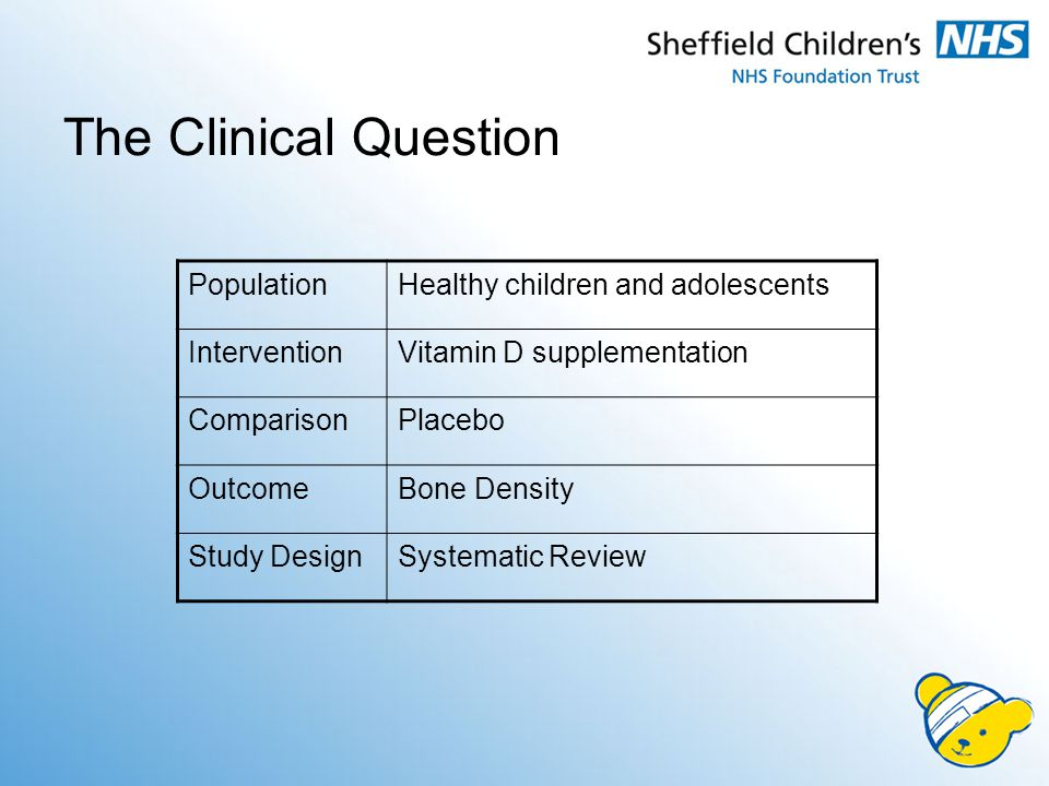 The Clinical Question PopulationHealthy children and adolescents InterventionVitamin D supplementation ComparisonPlacebo OutcomeBone Density Study DesignSystematic Review