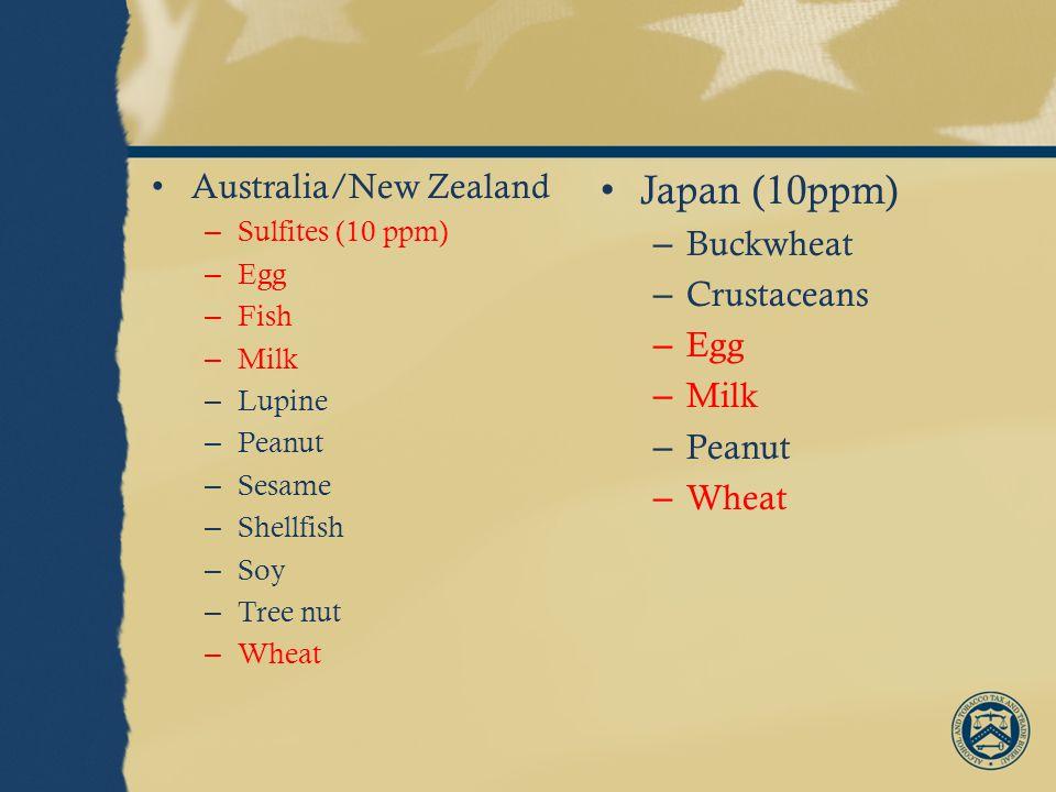 Australia/New Zealand – Sulfites (10 ppm) – Egg – Fish – Milk – Lupine – Peanut – Sesame – Shellfish – Soy – Tree nut – Wheat Japan (10ppm) – Buckwheat – Crustaceans – Egg – Milk – Peanut – Wheat