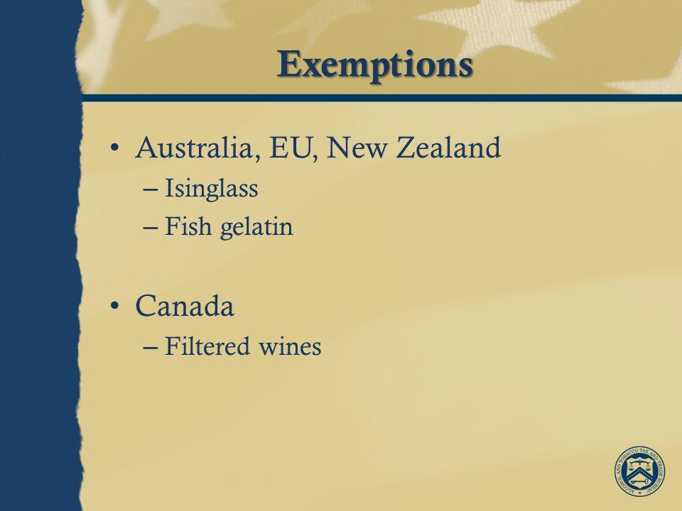 Exemptions Australia, EU, New Zealand – Isinglass – Fish gelatin Canada – Filtered wines