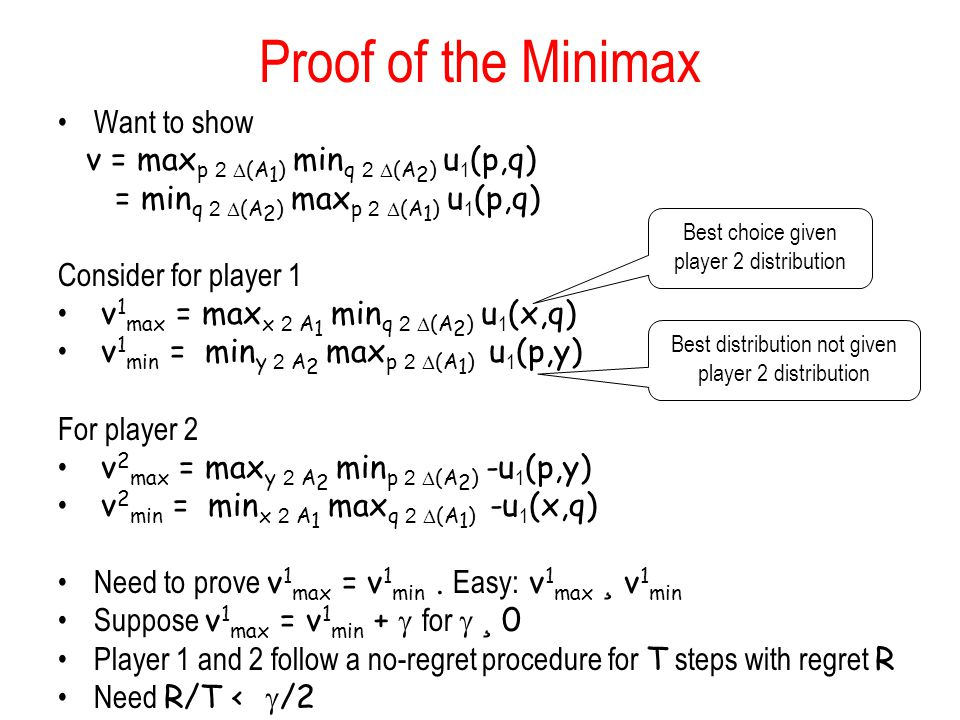 Proof of the Minimax Want to show v = max p 2  (A 1 ) min q 2  (A 2 ) u 1 (p,q) = min q 2  (A 2 ) max p 2  (A 1 ) u 1 (p,q) Consider for player 1 v 1 max = max x 2 A 1 min q 2  (A 2 ) u 1 (x,q) v 1 min = min y 2 A 2 max p 2  (A 1 ) u 1 (p,y) For player 2 v 2 max = max y 2 A 2 min p 2  (A 2 ) -u 1 (p,y) v 2 min = min x 2 A 1 max q 2  (A 1 ) -u 1 (x,q) Need to prove v 1 max = v 1 min.