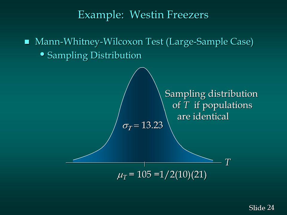 24 Slide Example: Westin Freezers n Mann-Whitney-Wilcoxon Test (Large-Sample Case) Sampling Distribution Sampling Distribution    13.23 Sampling distribution of T if populations are identical Sampling distribution of T if populations are identical  T = 105 =1/2(10)(21) T