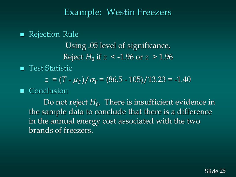 25 Slide Example: Westin Freezers n Rejection Rule Using.05 level of significance, Reject H 0 if z 1.96 n Test Statistic z = ( T -  T )/  T = (86.5 - 105)/13.23 = -1.40 n Conclusion Do not reject H 0.