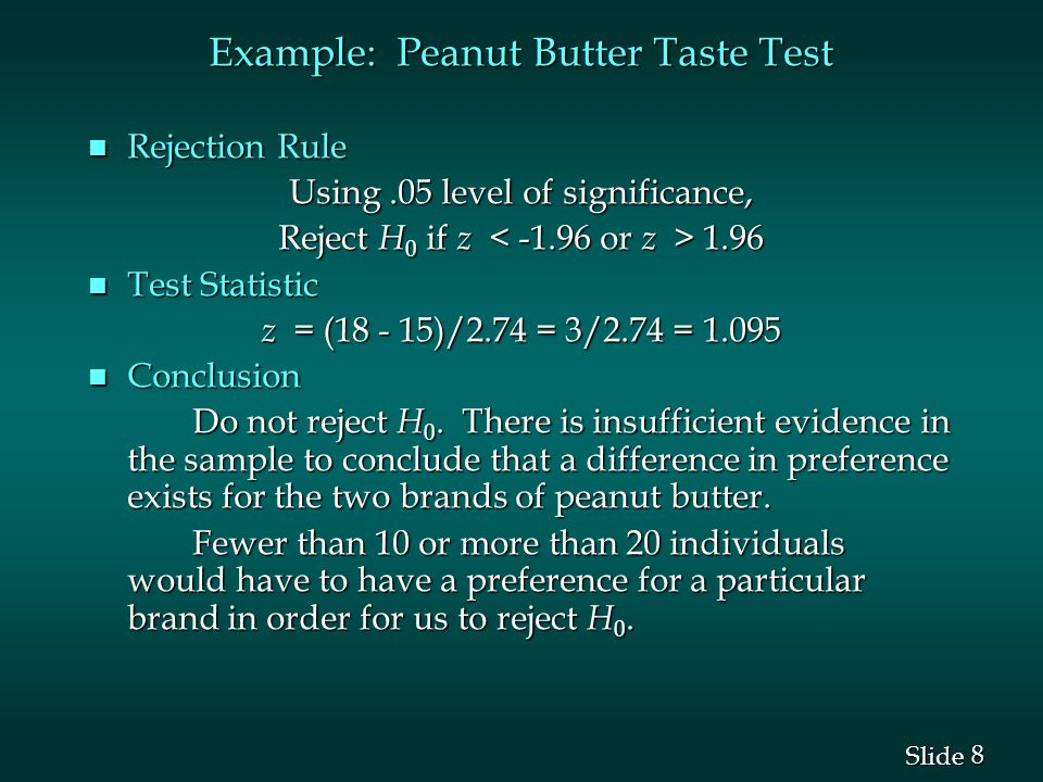 8 8 Slide Example: Peanut Butter Taste Test n Rejection Rule Using.05 level of significance, Reject H 0 if z 1.96 n Test Statistic z = (18 - 15)/2.74 = 3/2.74 = 1.095 n Conclusion Do not reject H 0.