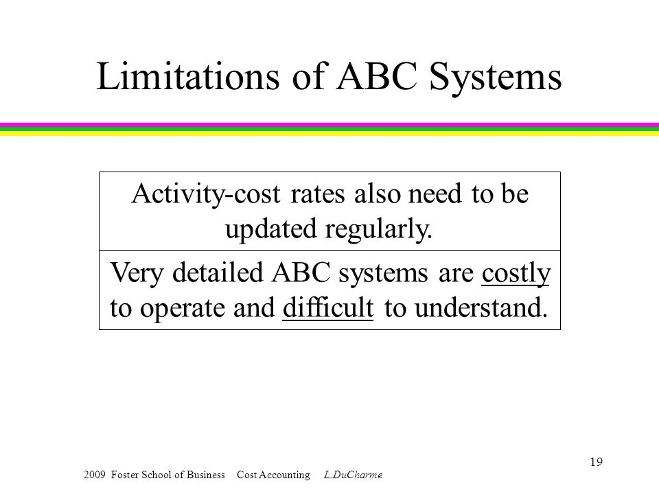 2009 Foster School of Business Cost Accounting L.DuCharme 19 Limitations of ABC Systems Activity-cost rates also need to be updated regularly.