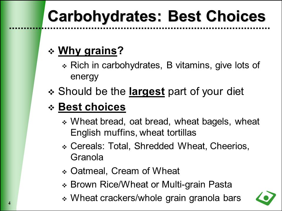 5 Protein: Best Choices  Purpose: Build/repair muscles, hair/nail growth, boosts immunity, RBC production  Lean meat  Chicken, turkey, lean ham, lean red meat, fish, tuna, turkey bacon and turkey sausage  Take the skin off of meat  Eggs and egg whites  Low-fat dairy products  Milk, cheese, yogurt, cottage cheese  Whey protein powders and smoothies/shakes made with it…whey protein absorbs very quickly  Nuts, seeds, peanut butter have some protein