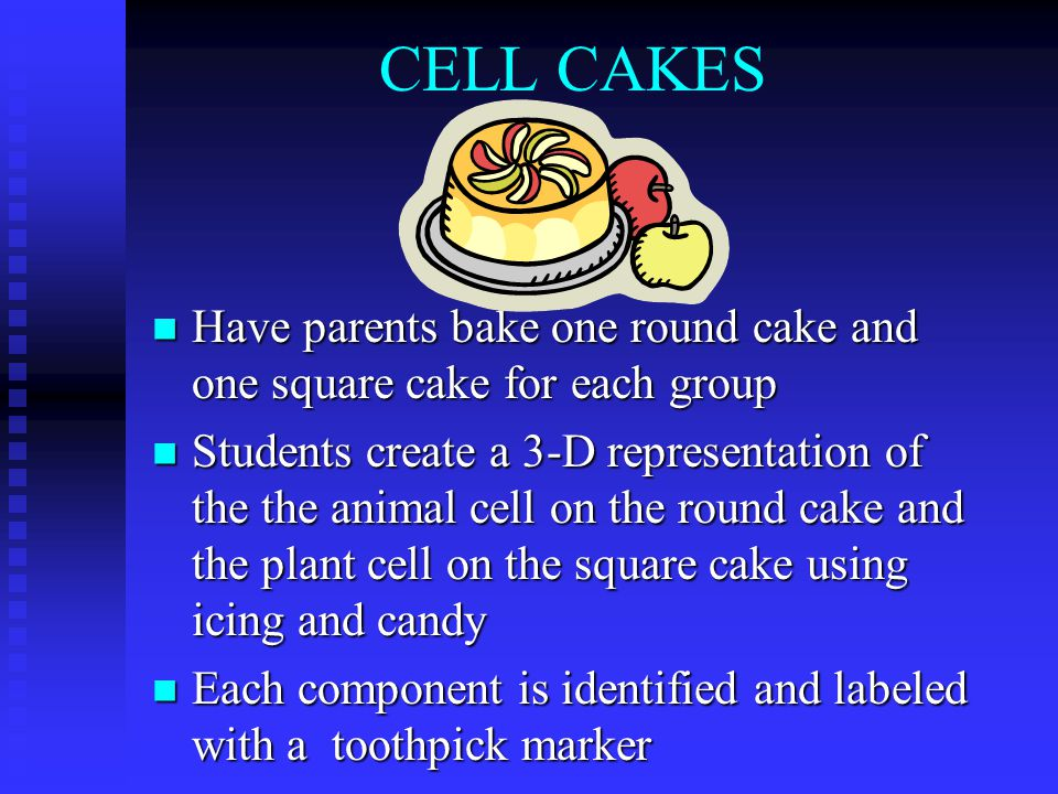 CELL CAKES Have parents bake one round cake and one square cake for each group Have parents bake one round cake and one square cake for each group Students create a 3-D representation of the the animal cell on the round cake and the plant cell on the square cake using icing and candy Students create a 3-D representation of the the animal cell on the round cake and the plant cell on the square cake using icing and candy Each component is identified and labeled with a toothpick marker Each component is identified and labeled with a toothpick marker