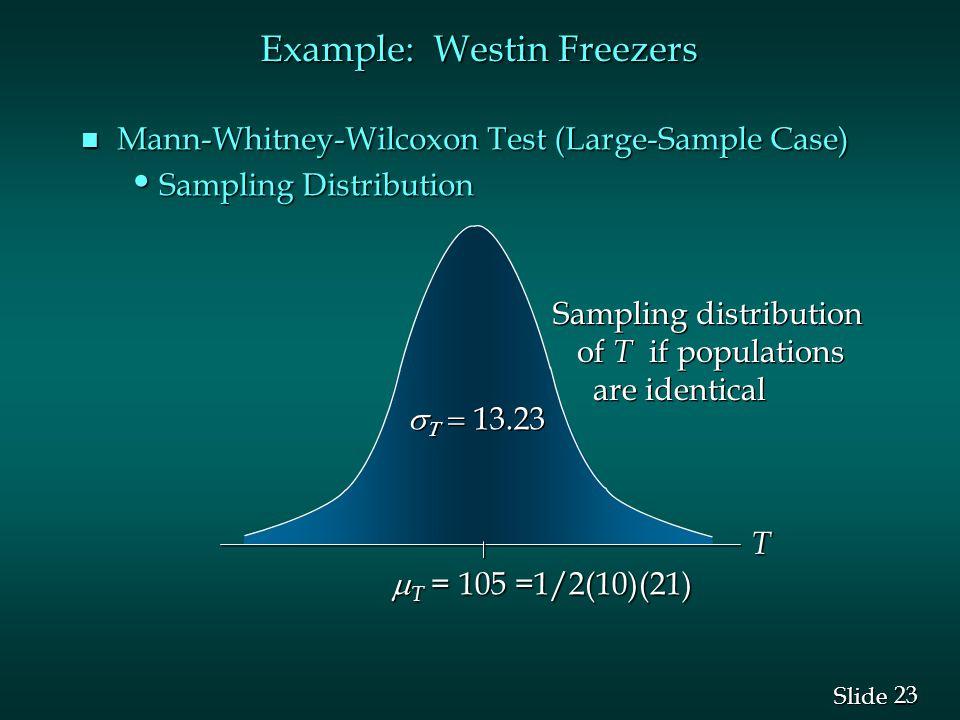 23 Slide Example: Westin Freezers n Mann-Whitney-Wilcoxon Test (Large-Sample Case) Sampling Distribution Sampling Distribution    13.23 Sampling distribution of T if populations are identical Sampling distribution of T if populations are identical  T = 105 =1/2(10)(21) T