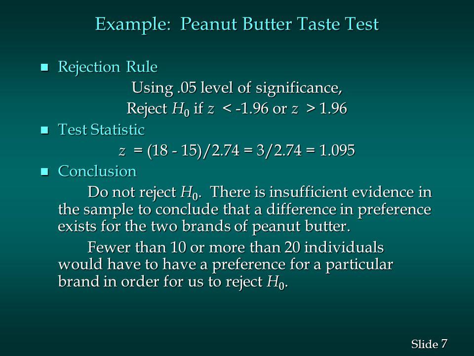 7 7 Slide Example: Peanut Butter Taste Test n Rejection Rule Using.05 level of significance, Reject H 0 if z 1.96 n Test Statistic z = (18 - 15)/2.74
