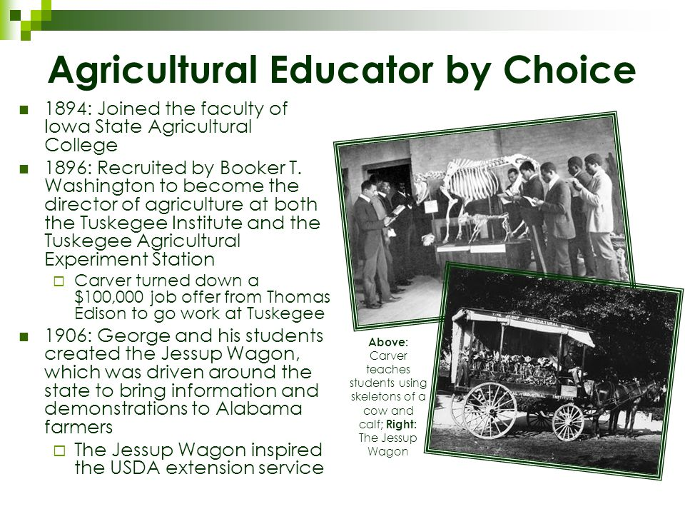 Agricultural Educator by Choice 1894: Joined the faculty of Iowa State Agricultural College 1896: Recruited by Booker T.