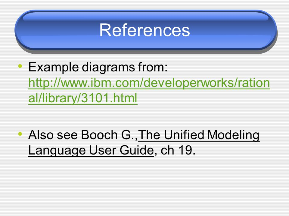 References Example diagrams from: http://www.ibm.com/developerworks/ration al/library/3101.html http://www.ibm.com/developerworks/ration al/library/3101.html Also see Booch G.,The Unified Modeling Language User Guide, ch 19.