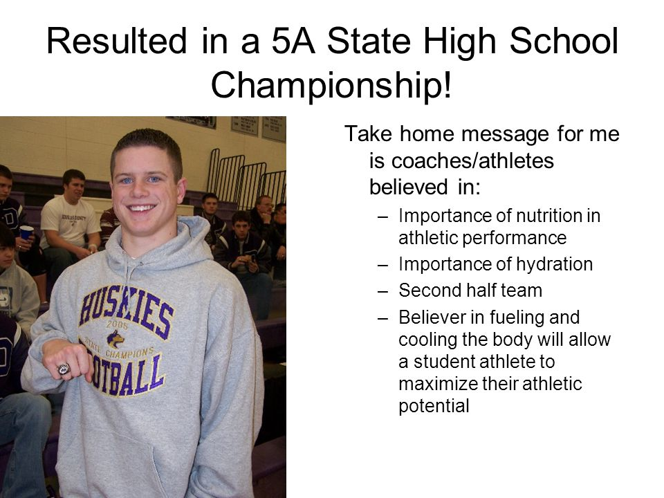 Resulted in a 5A State High School Championship.