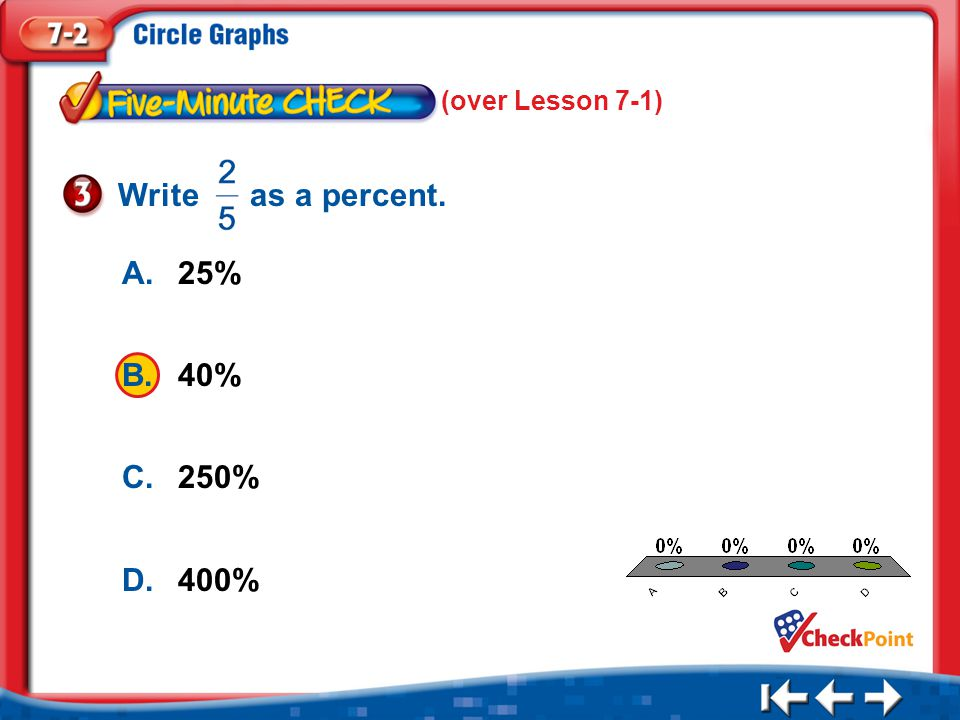 1.A 2.B 3.C 4.D Five Minute Check 3 A.25% B.40% C.250% D.400% (over Lesson 7-1) Write as a percent.