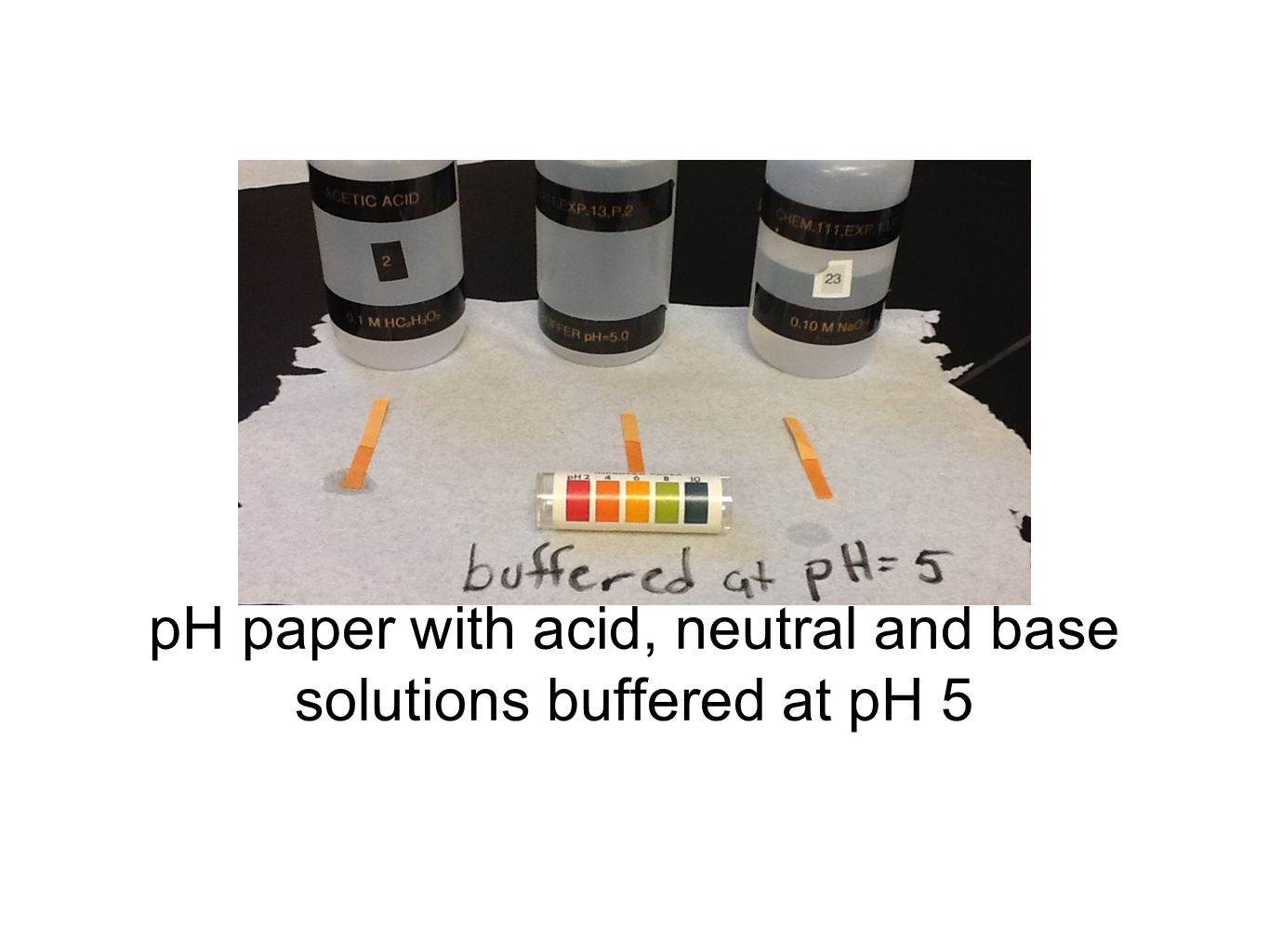 pH paper with acid, neutral and base solutions buffered at pH 5