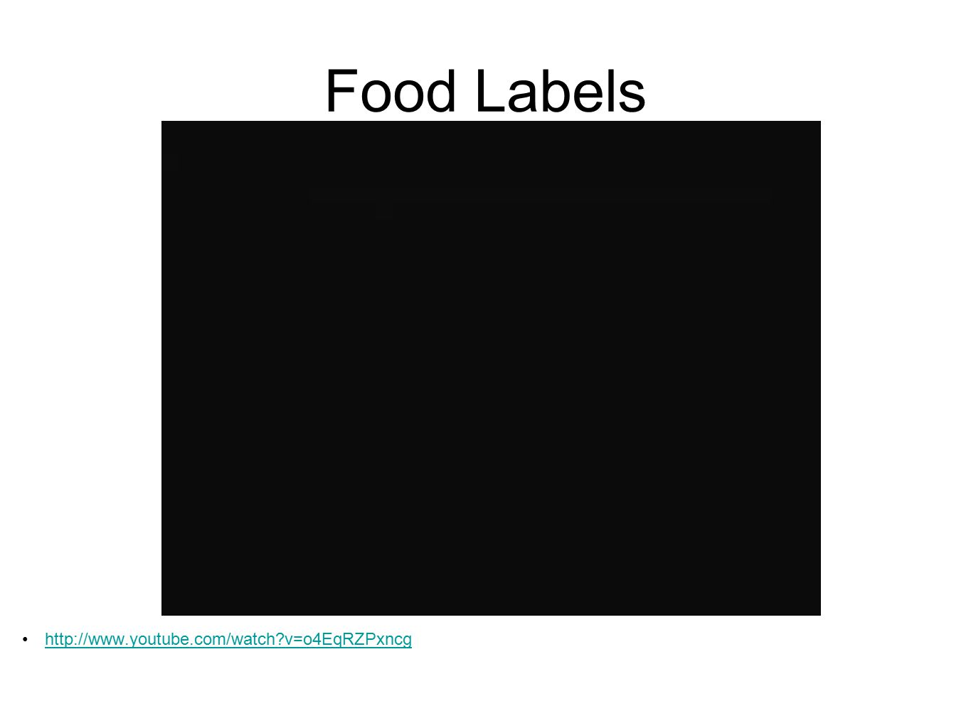 Food Labels http://www.youtube.com/watch?v=o4EqRZPxncg