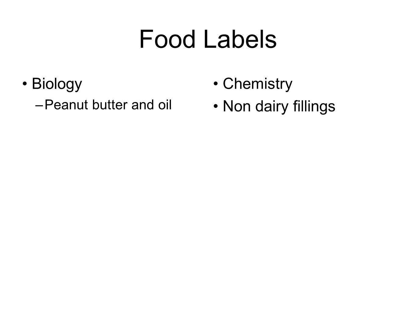 Food Labels Biology –Peanut butter and oil Chemistry Non dairy fillings