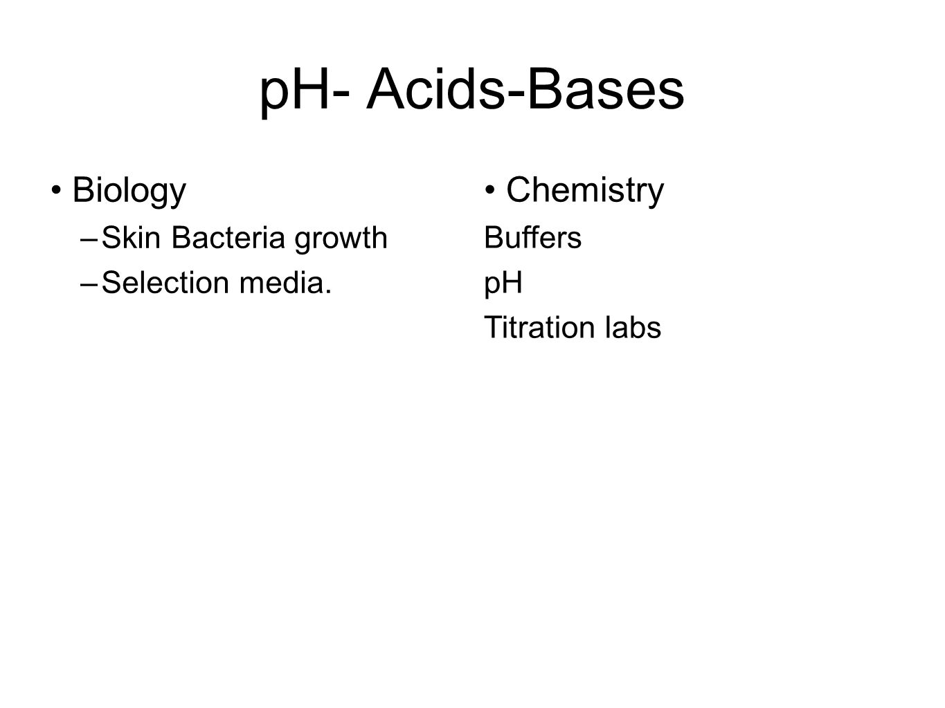 pH- Acids-Bases Biology –Skin Bacteria growth –Selection media. Chemistry Buffers pH Titration labs
