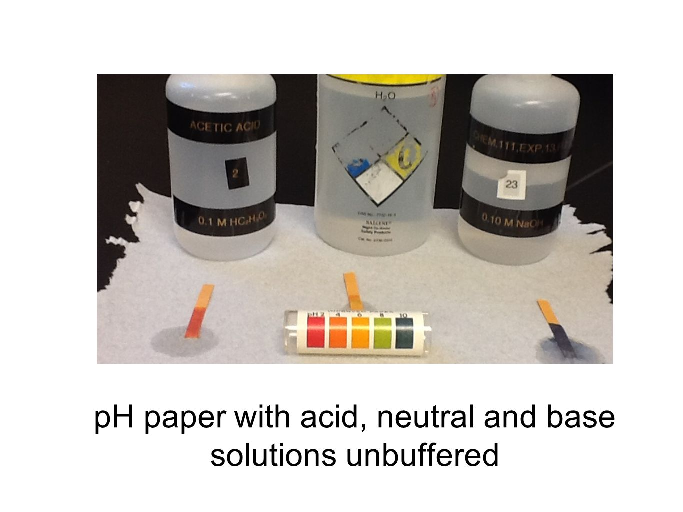 pH paper with acid, neutral and base solutions unbuffered