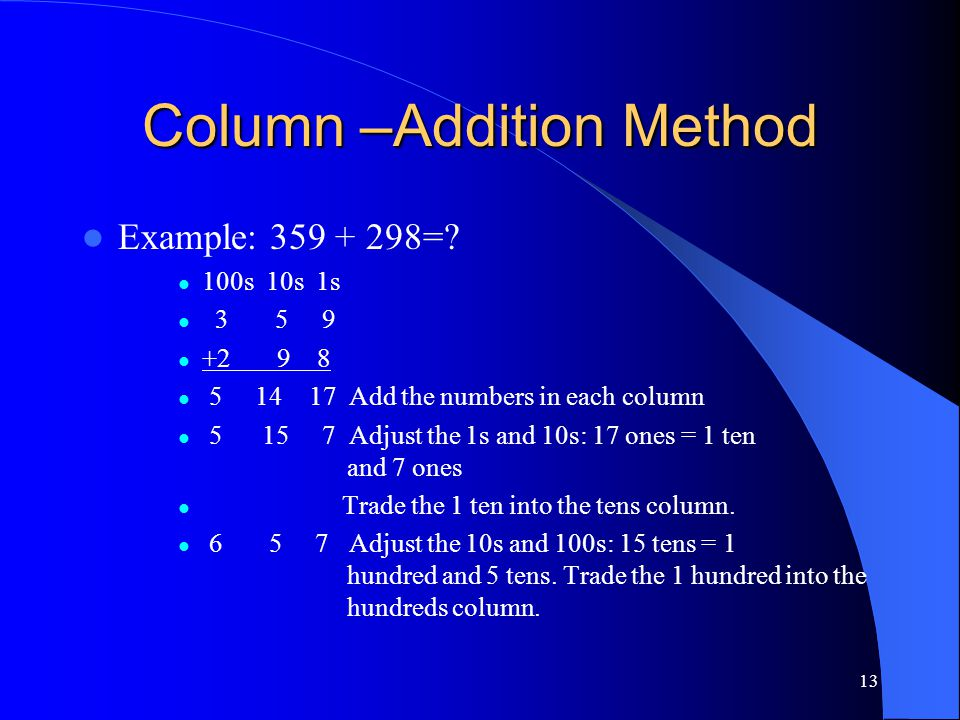 13 Column –Addition Method Example: 359 + 298=? 100s 10s 1s 3 5 9 +2 9 8 5 14 17 Add the numbers in each column 5 15 7 Adjust the 1s and 10s: 17 ones