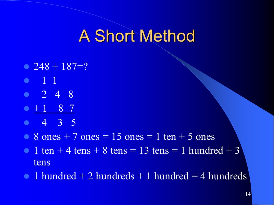 14 A Short Method 248 + 187=? 1 1 2 4 8 + 1 8 7 4 3 5 8 ones + 7 ones = 15 ones = 1 ten + 5 ones 1 ten + 4 tens + 8 tens = 13 tens = 1 hundred + 3 ten
